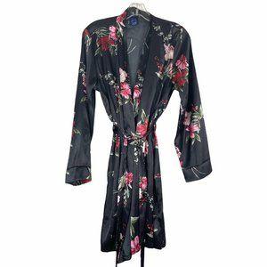 NWT APT 9 Black Floral Satin Kimono Robe Medium